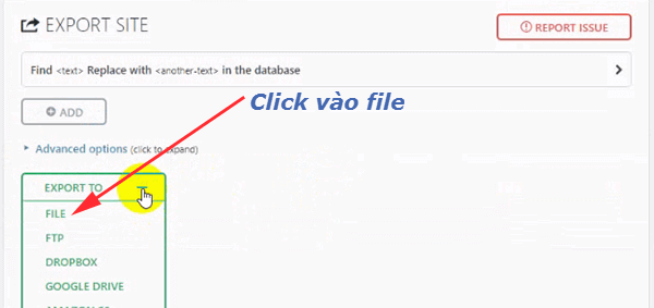 Click Export chọn File - All in One WP Migration